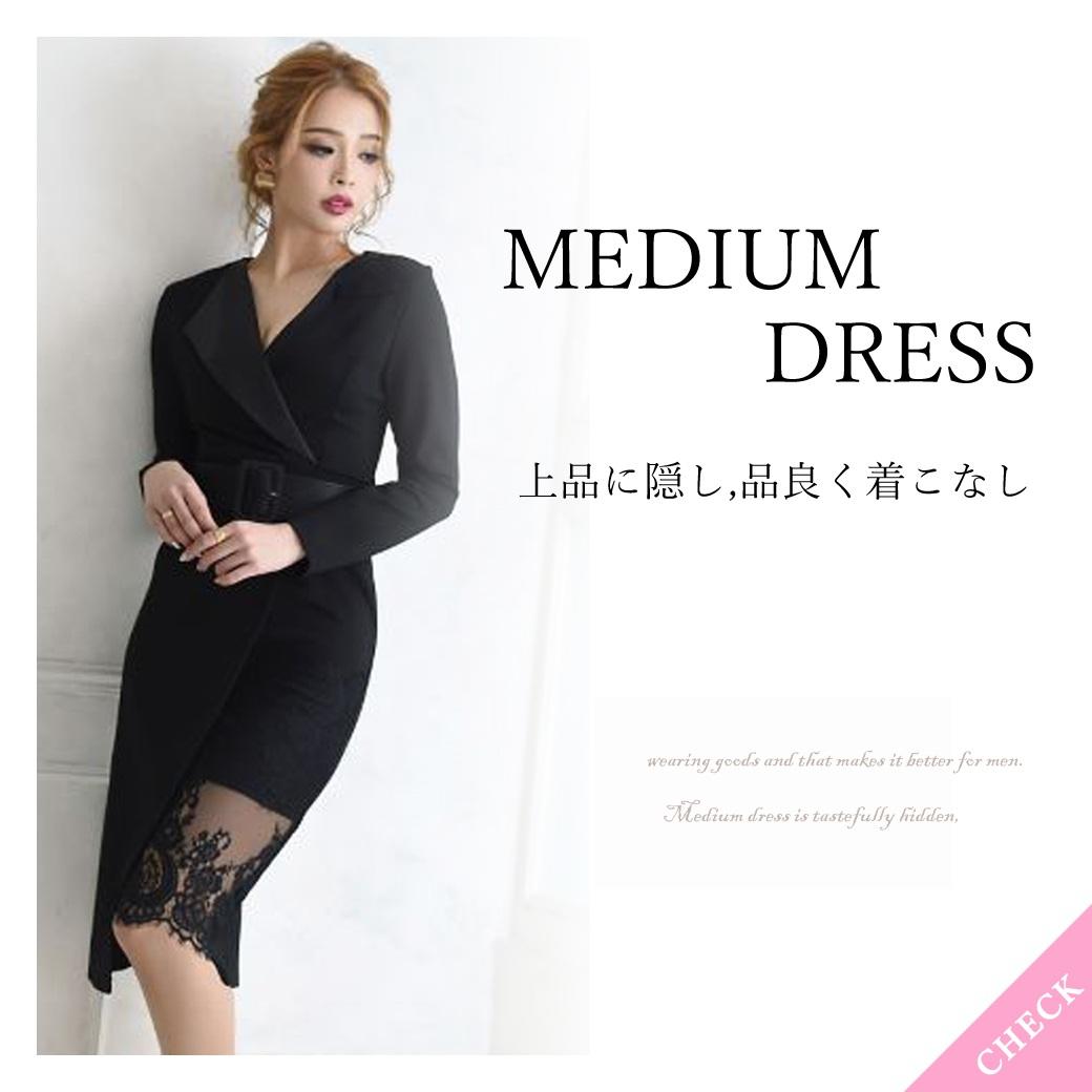 ミディ丈のキャバドレス