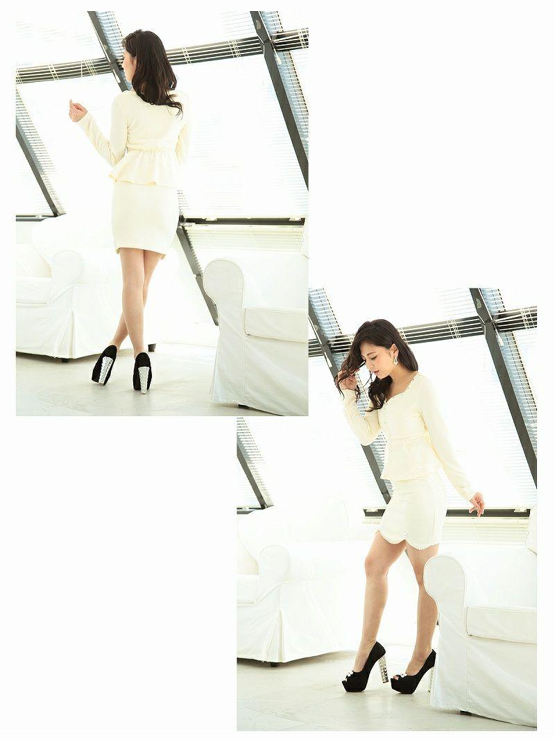 ビジュー付ワッフルペプラムキャバワンピース【Ryuyu】【リューユ】ストレッチ2pセットアップワンピ