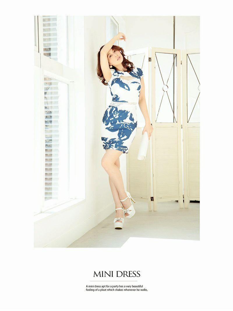 お腹魅せ!!バストカット花柄ミニドレス【Ryuyu】【リューユ】 2p風袖付ストレッチキャバドレス