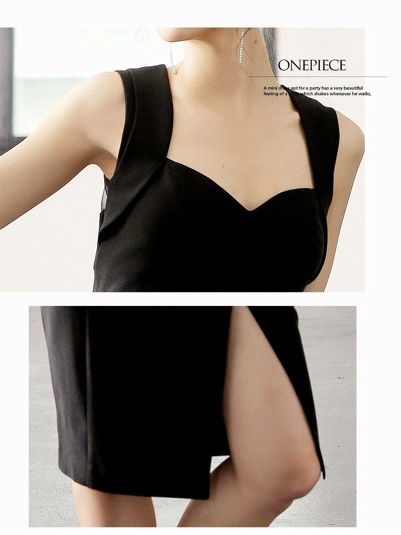 背中メッシュ膝丈セレブ韓国ドレス【DAYS PIECE】ワンカラーキャバクラワンピース【デイズピース】
