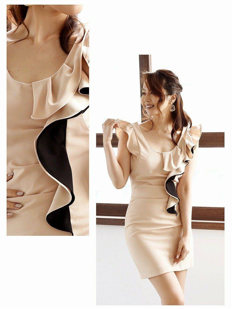 【Belsia】上質フリルlineキャバドレス フリル袖タイトミニドレス【ベルシア】