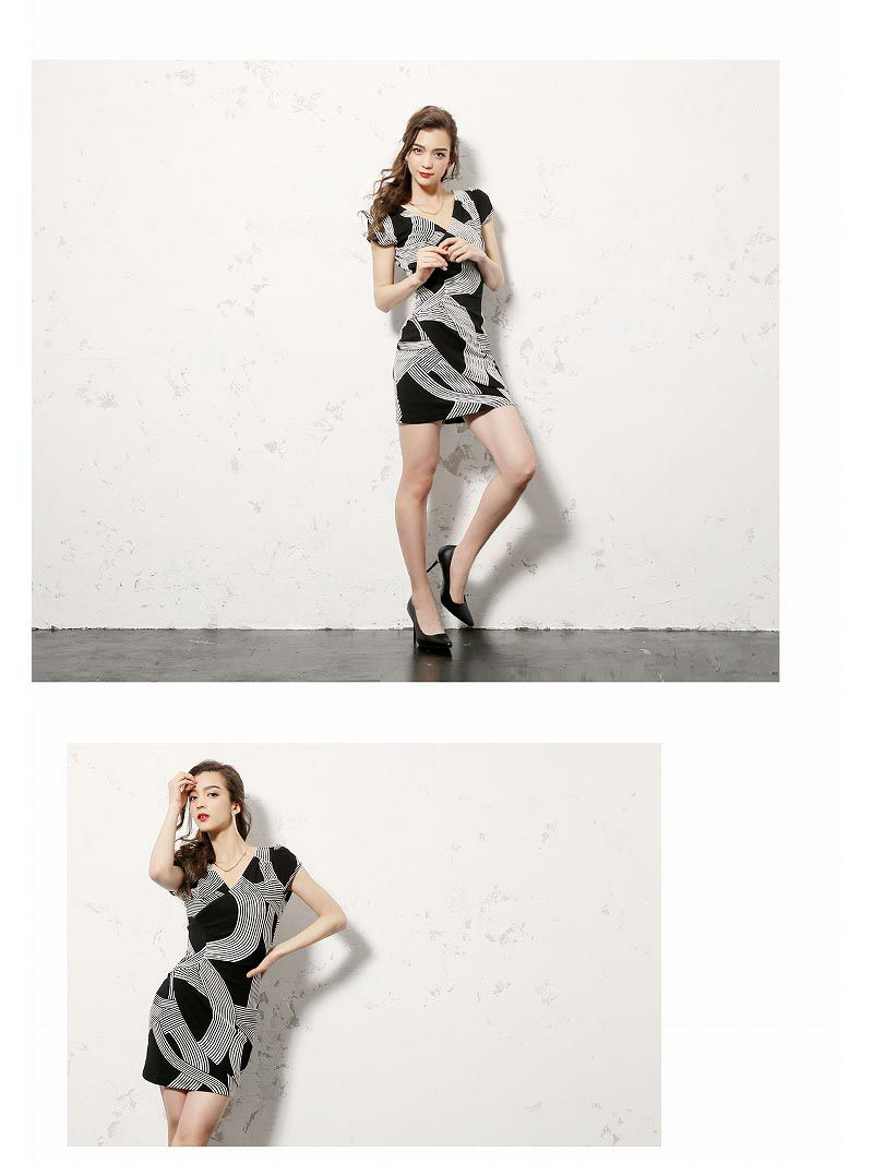 monotone幾何学柄韓国ドレス【DAYS PIECE】袖付きカシュクールキャバクラワンピース【デイズピース】