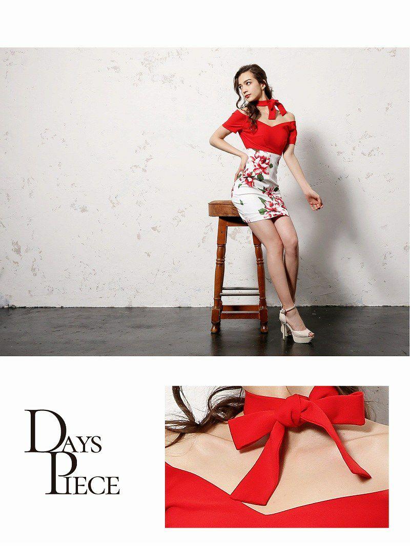 リボン花柄切り替え韓国ドレス【DAYS PIECE】オフショルダー膝丈キャバワンピース【デイズピース】