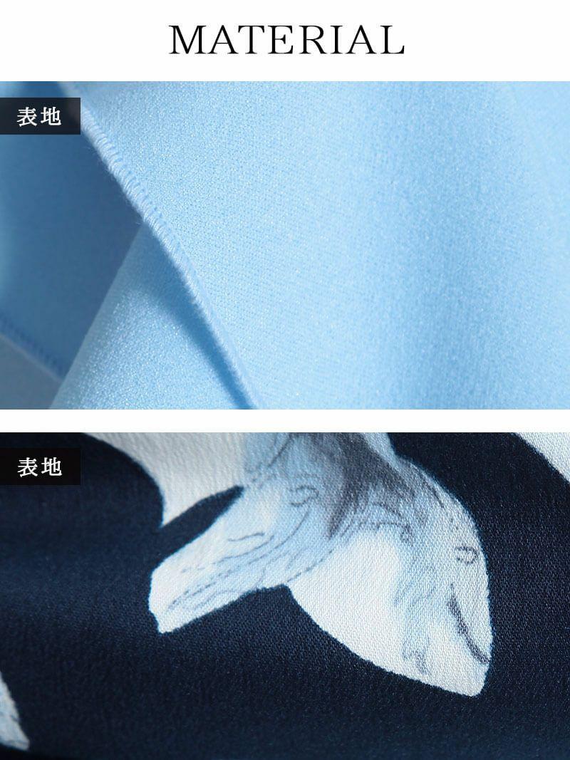 【Belsia】胸元贅沢フリルミニドレス 袖付き花柄キャバクラドレス【ベルシア】