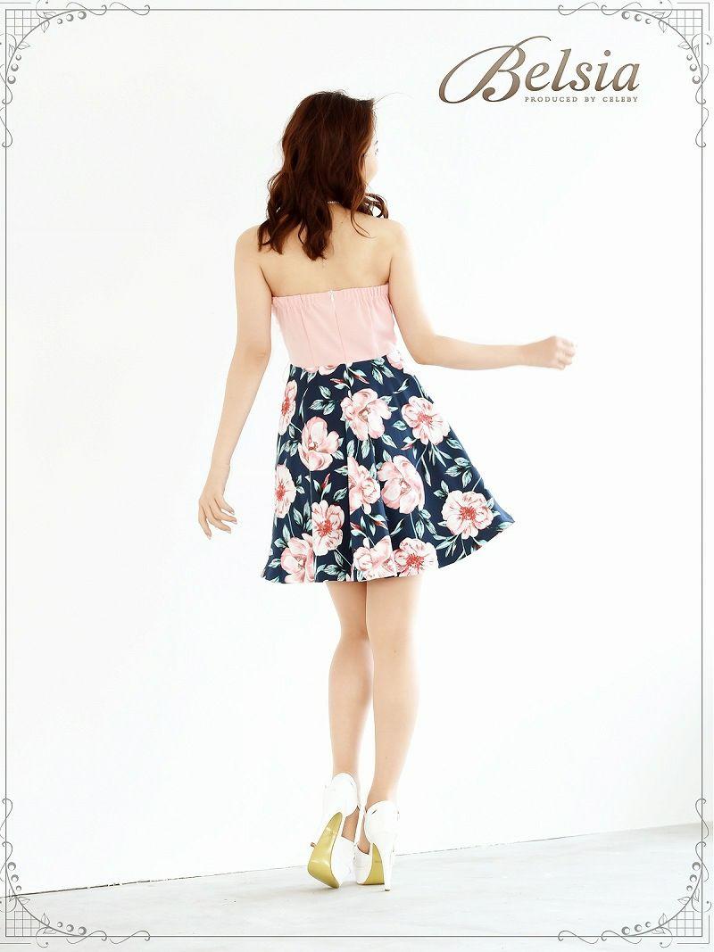 【Belsia】オーガンジーBIGリボン花柄ベアドレス フレアーキャバクラミニドレス【ベルシア】
