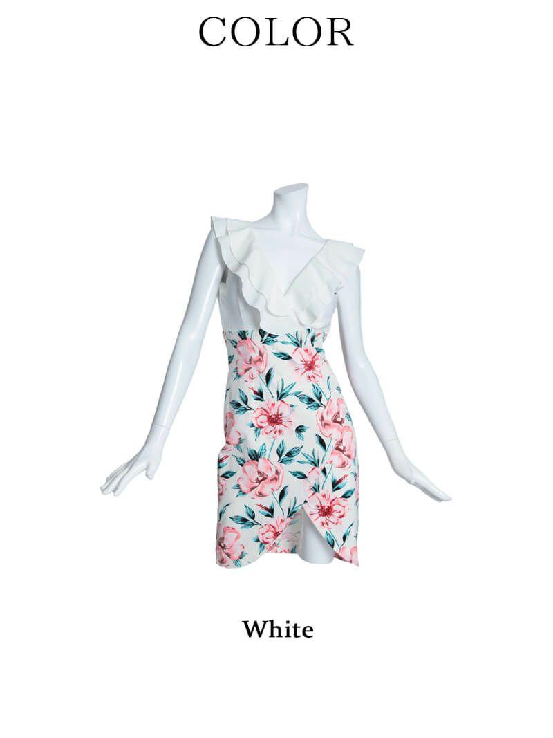 【Belsia】深Vネック胸元フリル花柄切り替えミニドレス ハイウエストキャバクラドレス【ベルシア】