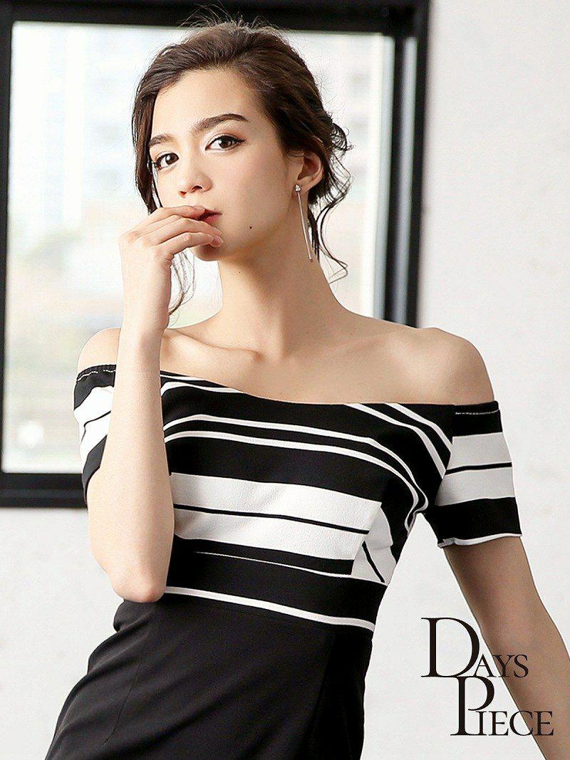 オフショルmonotoneマルチボーダー韓国ドレス【DAYS PIECE】ハイウエスト切替キャバワンピース【デイズピース】