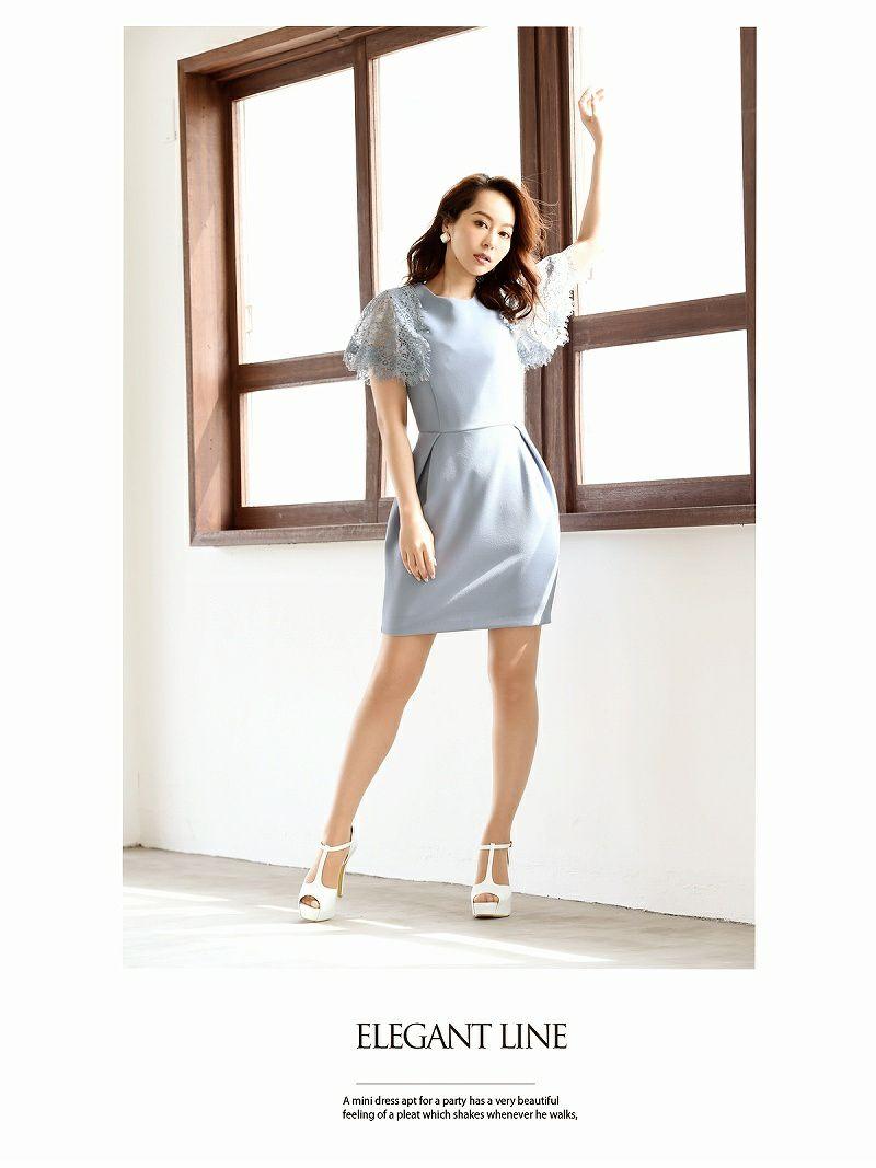 【Belsia】被せレースフレアー袖付ミニドレス 単色膝丈キャバクラドレス【ベルシア】