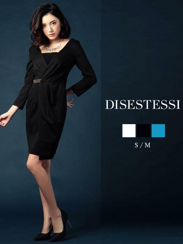【DISESTESSI】Celebラップドレス風カシュクールキャバワンピース 七分袖膝丈キャバクラドレス【ディセステッシ】