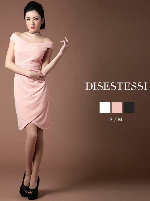 【DISESTESSI】ラップドレス風オフショルキャバワンピース 膝丈キャバクラドレス【ディセステッシ】