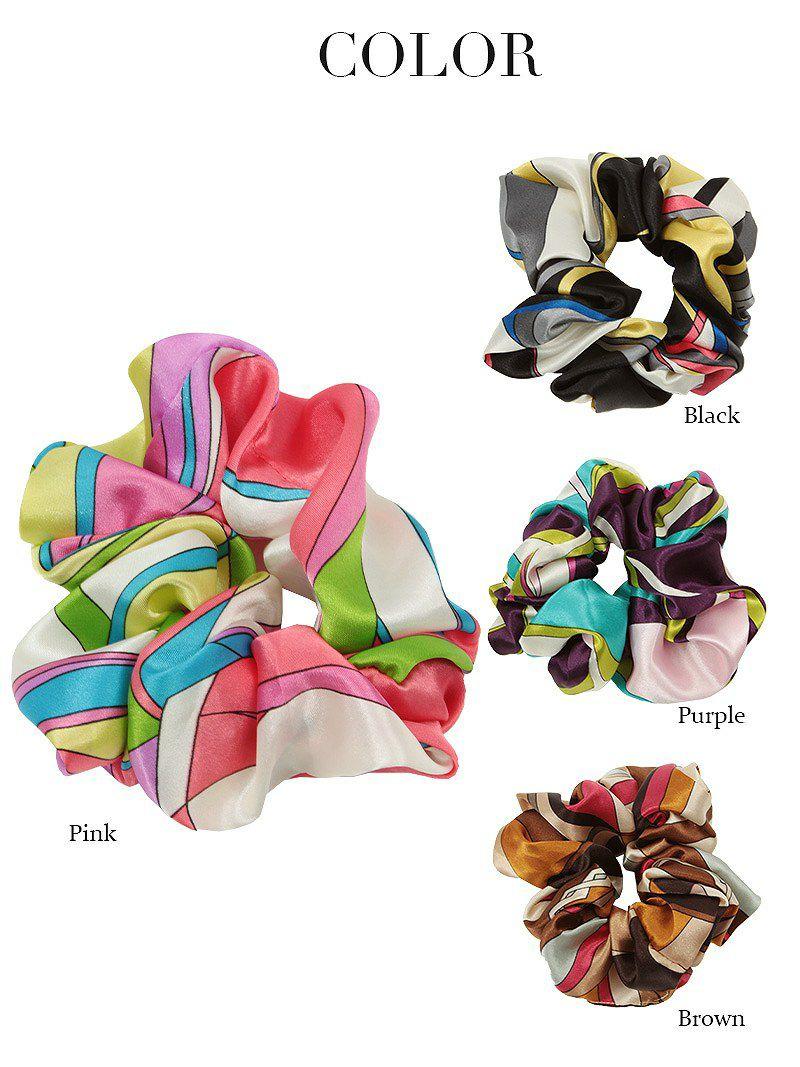 幾何学柄サテンシュシュ【Ryuyu】【リューユ】スカーフ柄ヘアアクセサリー ヘアアクセやブレスにも♪