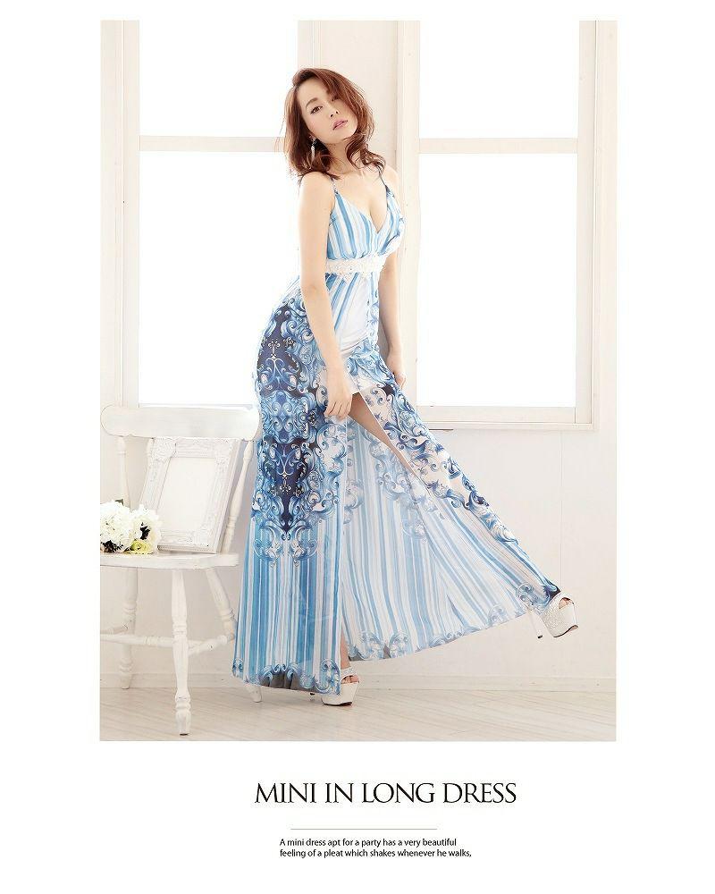 大人パネル花柄中ミニロングドレス【Ryuyu】【リューユ】前ミニキャバクラロングドレス