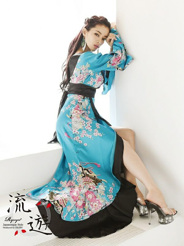 【流遊】花魁!妖艶サテン華和柄ロングドレス 尾崎紗代子 着用ドレス【Ryuyu】キャバクラ着物ロングドレス