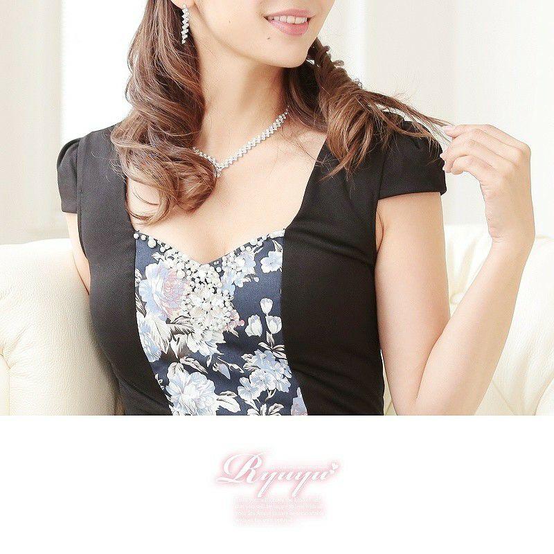 大人Richアンティークflowerミニドレス【ryuyu】リューユ 花柄袖付きボレロ風ミニドレス キャバクラドレスに♪