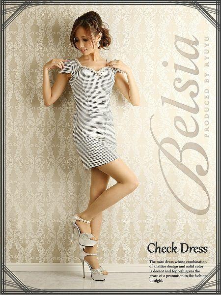 【Belsia】上品LADYチェック柄袖付きミニワンピース*パールライン美デコルテ