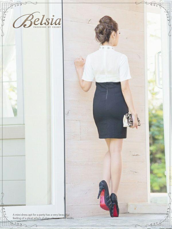 【Belsia】高貴ビジュー*カシュクール切替え袖付きシャツワンピドレス