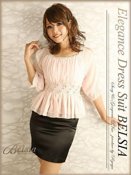 【Belsia】美刺繍が奏でるFlowerデコルテ♪ショルダーカッティングペプラム袖付きミニドレス