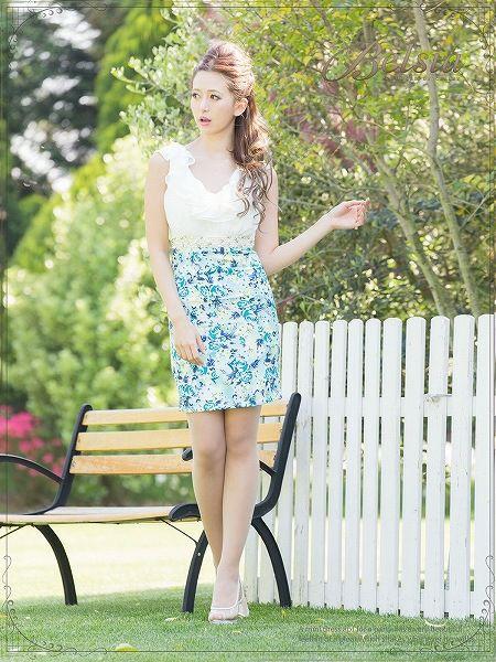 【Belsia】【小悪魔ageha/丸山慧子ちゃん着用】高級感!花柄切替え贅沢フリルシフォンミニドレス