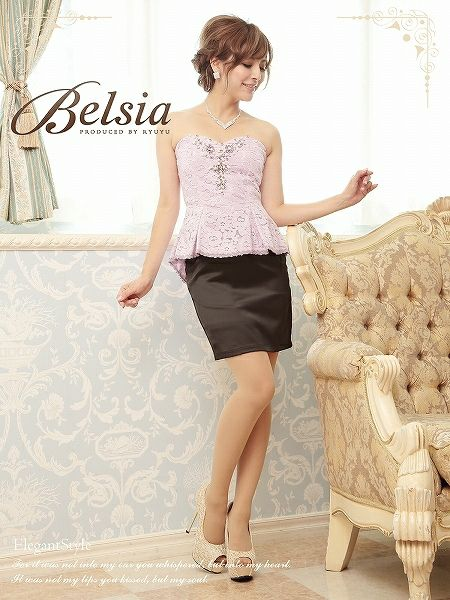 【Belsia】高級厚手フロッキーレース奏でるElegantな品格ペプラム切替ミニドレス