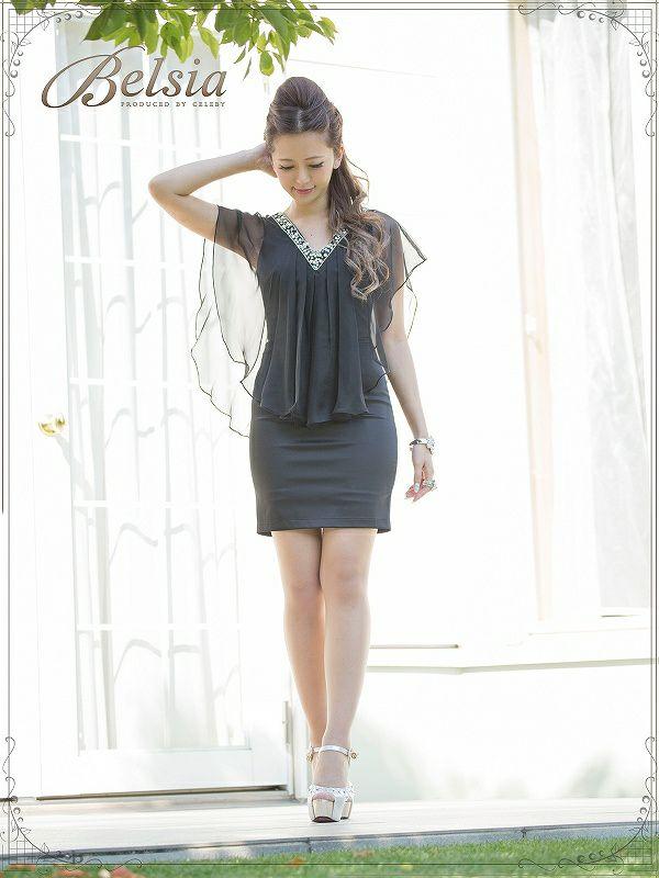 【Belsia】【丸山慧子ちゃん着用】上質シフォンフリル袖付きミニドレス/上質エアリーシフォン