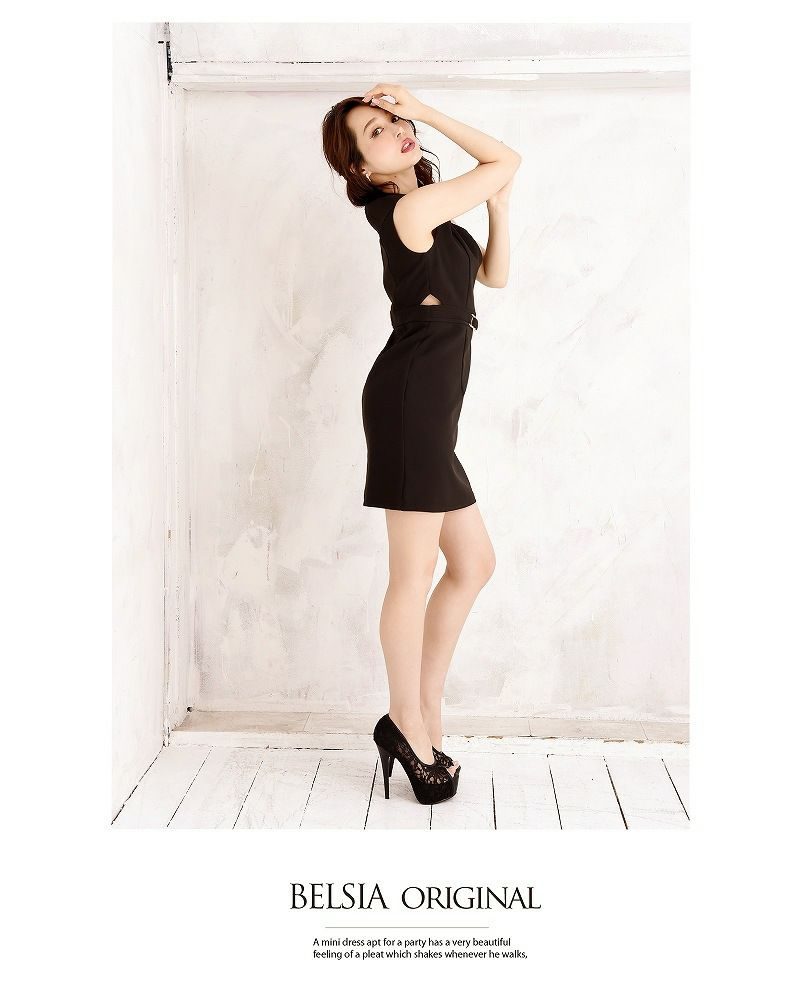 【Belsia】昼夜OK!上質ノースリーブキャバワンピース 大人simpleタイトワンピース【ベルシア】