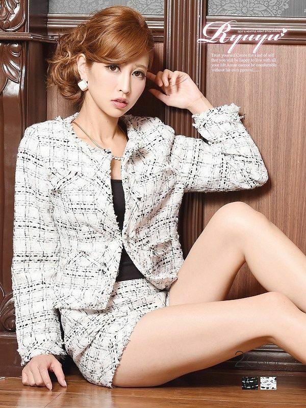 品格Ladyチェック柄ノーカラーMIXツイードスーツ ショートパンツキャバスーツ 姉ageha青木りえ(あおきりえ)ちゃん着用キャバスーツ