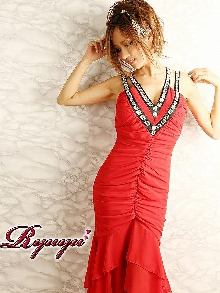 美マーメイドで癒し姫なカスケードシフォンフリル切替ロングドレス