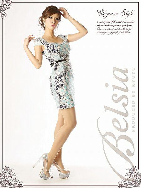 【BELSIA】パネル柄ゴシック袖付きタイトミニドレスワンピ*ベルト付セレブワンピ