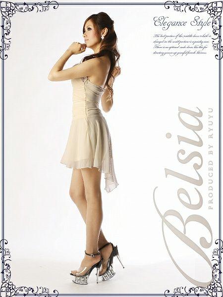【BELSIA】妖精フェアリーなロングテールカットシフォンミニドレス