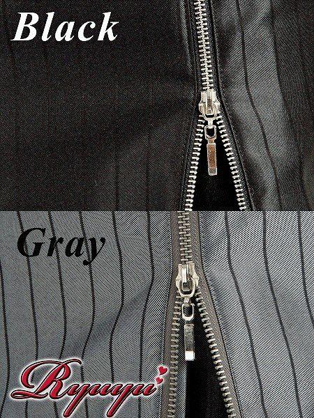 艶shinyでcoolマニッシュなシャドウストライプ柄裾zipキャバスーツ