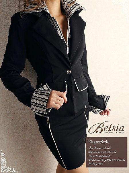【BELSIA】タイトキャバスーツ3点セット/サテンストライプ柄シャツ付き3p