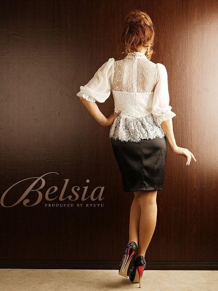 【BELSIA】エレガントなGorgeous感*袖付きシフォンブラウジングパーティーミニドレス