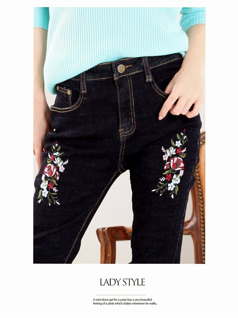 【Rvate】極ストレッチflower刺繍入りキャバデニム 美ラインスキニーデニムパンツ