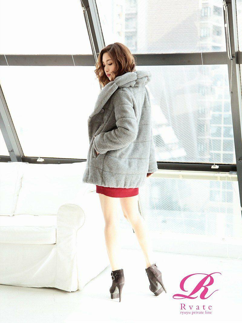 【Rvate】ボリュームカラー中綿あったかキャバコート  ふわふわボリューム襟で小顔&あったかアウター