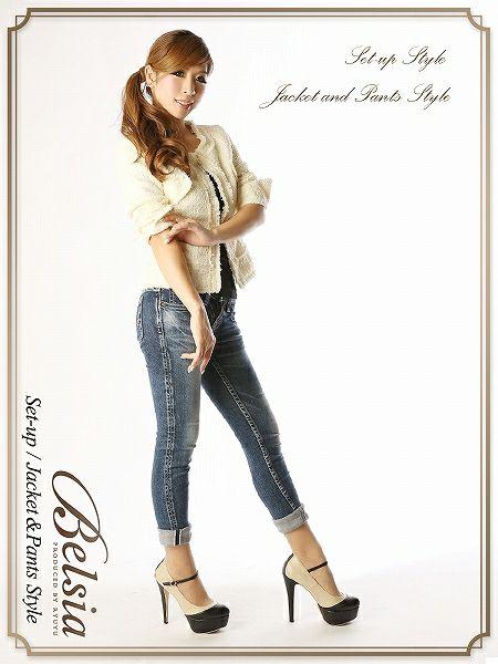 【訳あり!アウトレット¥7980→¥6700】【Belsia】ツイードスーツ*2wayで着れるノーカラージャケット品格ライン,式スーツ 女性 フォーマル