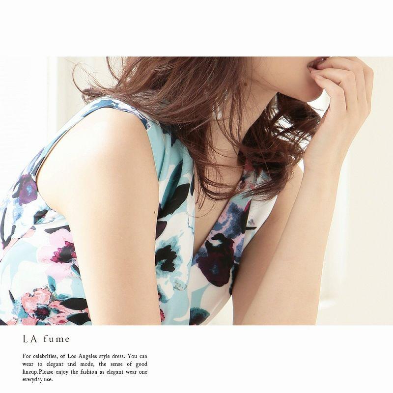【LAfume】S/M/L/XL完備!上質花柄膝丈ワンピース セレブワンピース ベルト付【ラフューム】