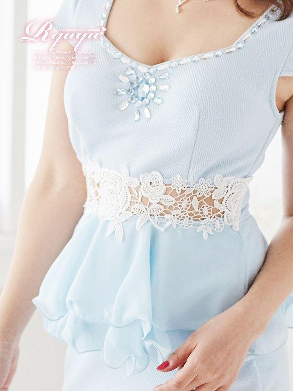 お腹魅せレースふわシフォンペプラムキャバミニドレス ryuyu リューユ ストレッチ袖付ドレス
