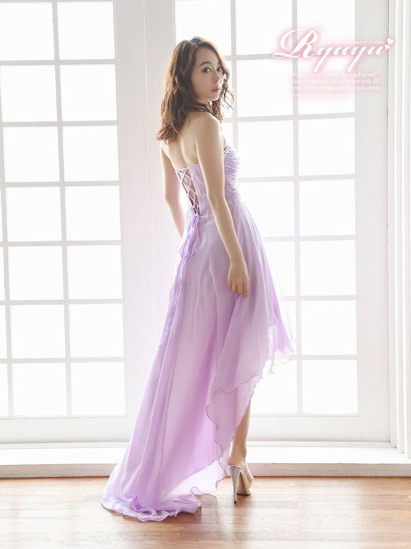 シフォンAライン前ミニロングドレス【Ryuyu】【リューユ】テールカットキャバクラロングドレス