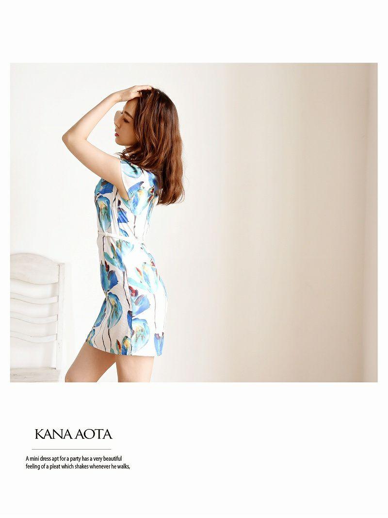 【Belsia】大きいサイズ完備!!水彩flowerワンピース 袖付きキャバクラワンピース【ベルシア】