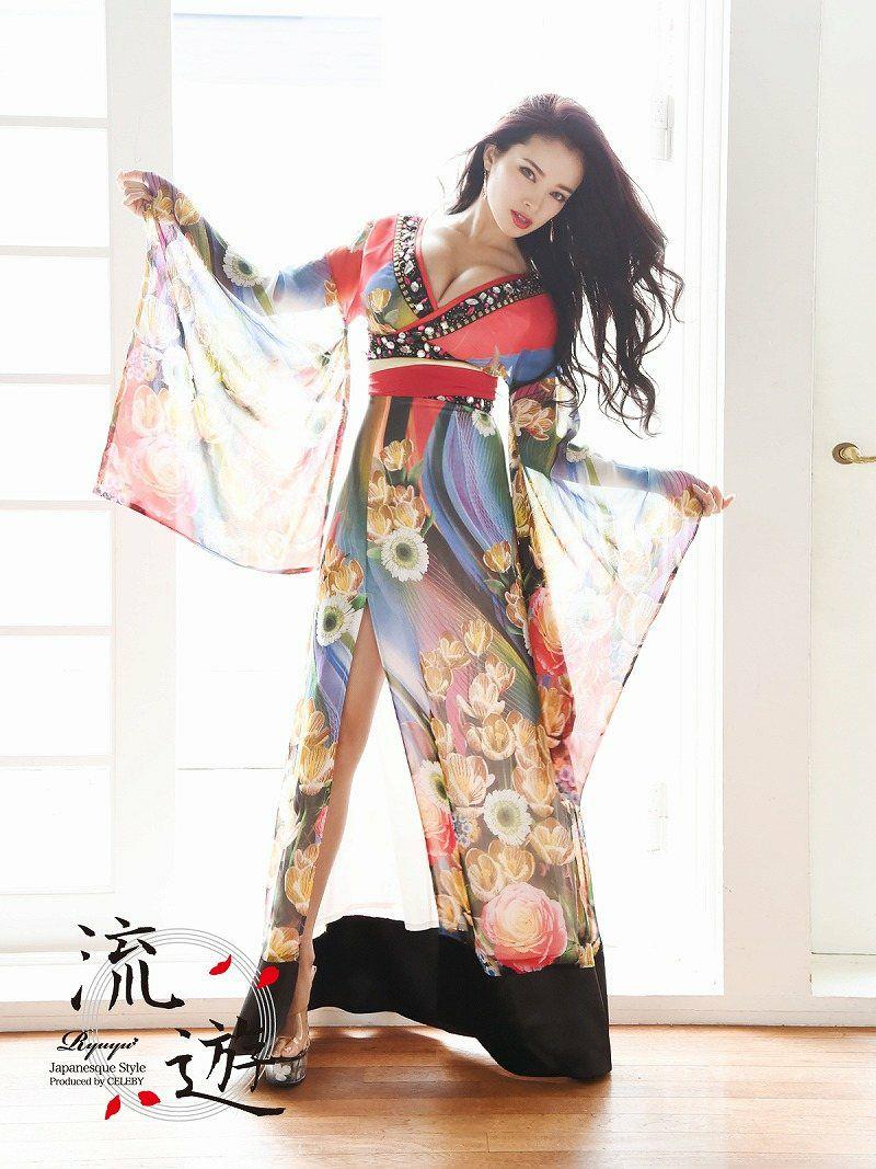 【流遊】キャバ花魁!高級オリジナル和嬢天女しなやかシフォン着物ドレス 尾崎紗代子 着用ドレス【Ryuyu】キャバクラ和柄ロングドレス