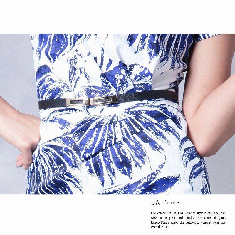 【LAfume】大判リーフ柄袖付キャバワンピース 大人ワンピース ベルト付 【ラフューム】