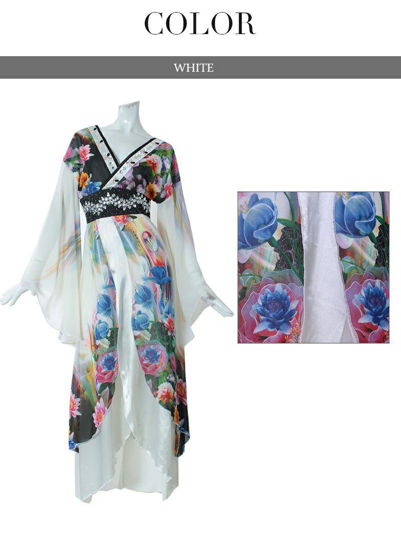 【即納】【流遊】キャバ花魁!和嬢天女しなやかシフォン着物ドレス【Ryuyu】キャバクラ和柄ロングドレス 白