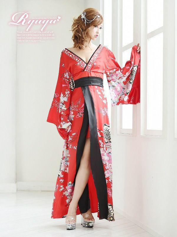 【流遊】花魁!和華柄前ミニinロングドレス 青木りえ 着用ドレス 【Ryuyu】キャバクラ着物ロングドレス