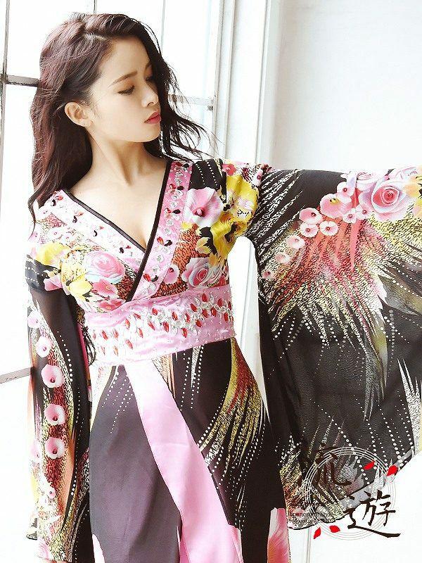 【流遊】キャバ花魁!和華柄ロングドレス 尾崎紗代子 着用ドレス【Ryuyu】キャバクラ着物ドレス