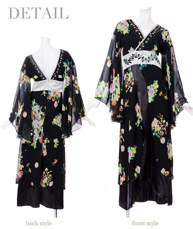 【流遊】花魁!和柄シフォンロングドレス【Ryuyu】 和華柄キャバクラ着物ドレス