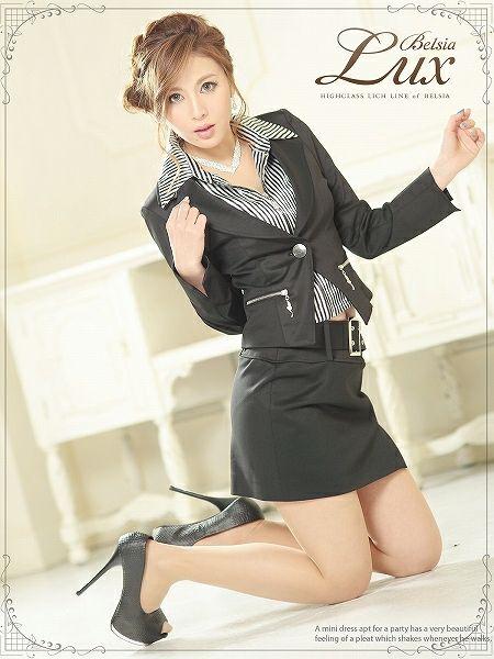 【BELSIA LUX】2way!取り外し可shinyストライプ柄シャツ付きスーツ/ミ二タイプ