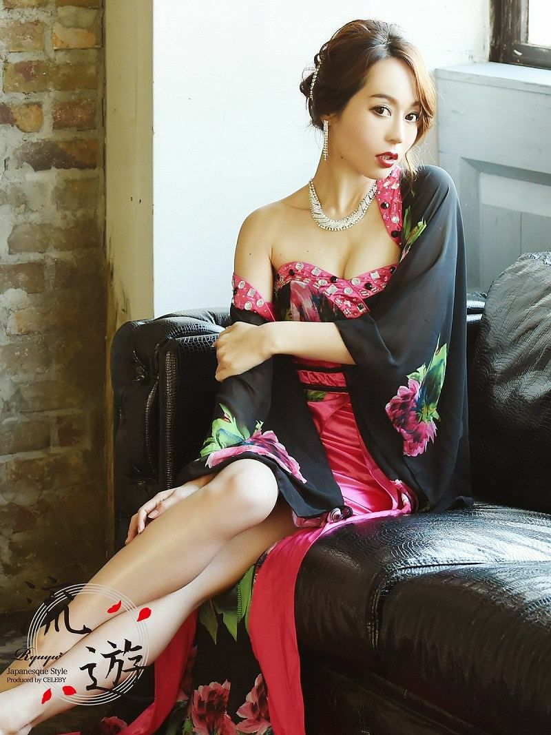 【流遊】妖艶!和柄sexy着物2ピース前ミニロングドレス【Ryuyu】キャバクラ振袖ドレス 桃