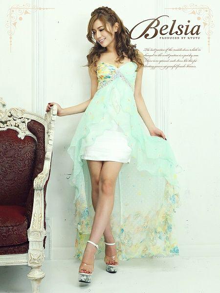 【BELSIA】ゴージャスロングテール*美グラデ花柄前ミニシフォンロングドレス
