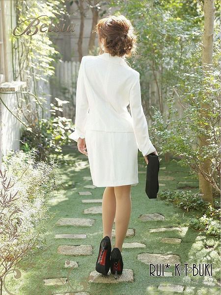 結婚式・お呼ばれに!【BELSIA】寿るいちゃん着用キャバスーツ*フリルEleganceなフェイクインナー付きコルクlineキャバスーツ