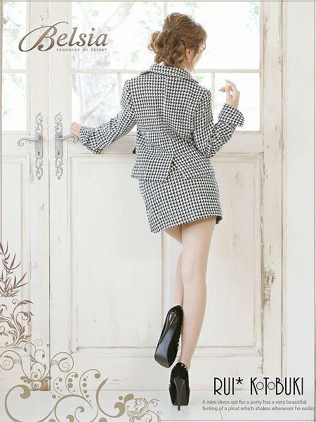 結婚式・お呼ばれに!美style千鳥格子柄ツイードミニスーツ,式スーツ 女性 フォーマル